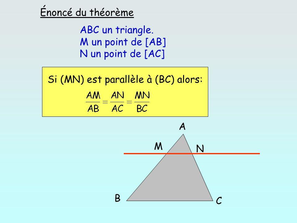 Énoncé du théorème ABC un triangle. M un point de [AB] N un point de [AC] Si (MN) est parallèle à (BC) alors:
